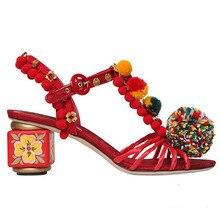 Ethnische Sommer Pom Pom Gladiator Sandalen Designer Handgefertigte High Heels Vintage Blumendruck Frauen Pumpen Damen Schuhe Frau