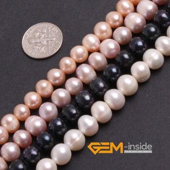 0ae35458251c Perla  7-8mm de perlas cultivadas perlas grano de DIY de cordón para pulsera  o collar de hilo 15