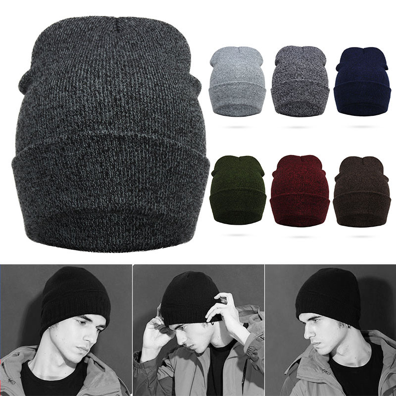 Female Winter Knitting Warm Hat Daily Slouchy Men Hats Beanie Cap Outdoor Cotton Men Skullies Caps FS99