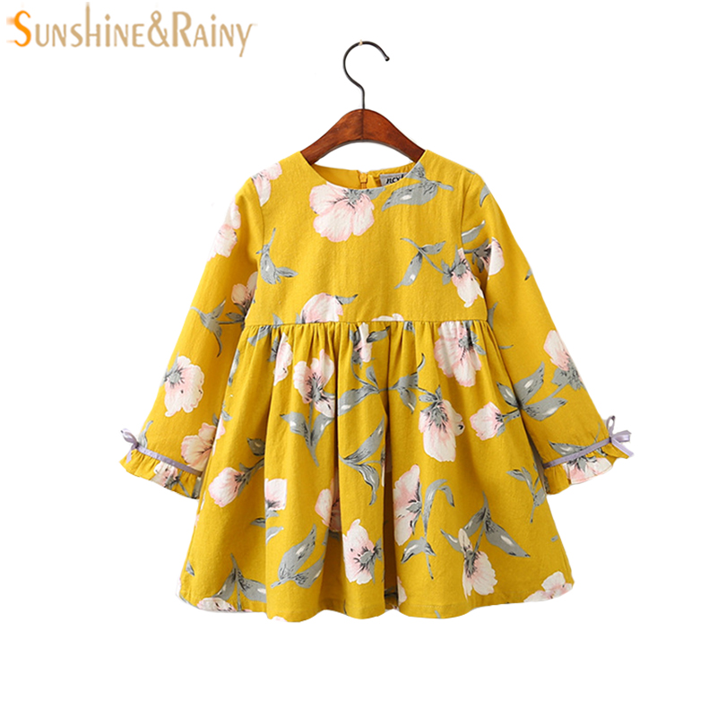 2017 Autumn Floral Girls Dresses Flower Printed Long Sleeves Bow Baby Girl Dress Vintage Kids Princess Dress For Party 3-9Yrs baby girls printed long sleeves dress girls party princess dress baby kids girls cute loose dress girls clothing 3 7ys