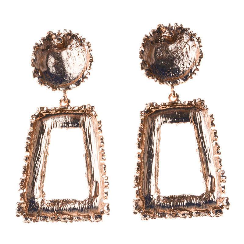 PPG&PGG 2018 Za Design Wedding Jewelry Big Metal Heavy Dangle Pendant Drop Earrings Color Alloy Statement Earrings for Women