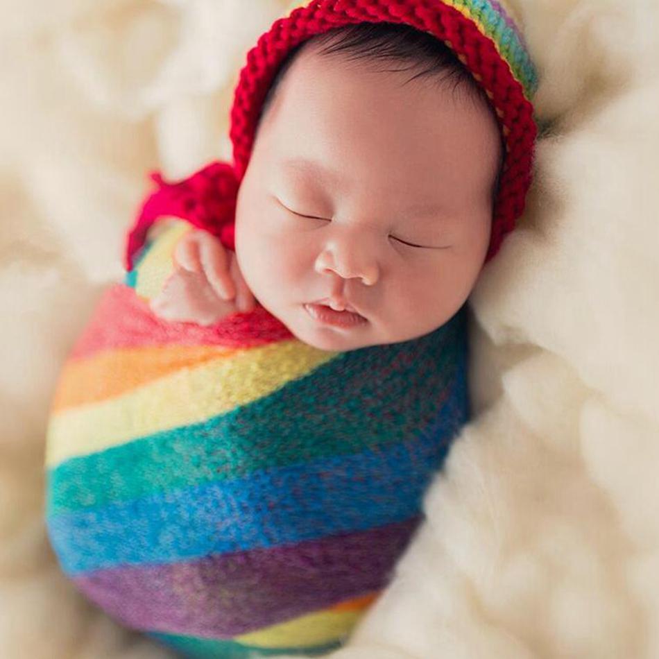 Freundschaftlich Baumwolle Regenbogen Wrap Neugeborenen Fotografie Requisiten Baby Kinder Nubble Rayon Wrap Mutterschaft Schal Hängematte Swaddlings Fotografia