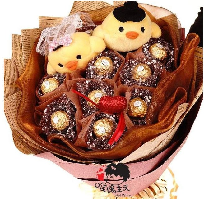 Cartoon bouquet couple chicken cartoon flower the chocolate holding ...