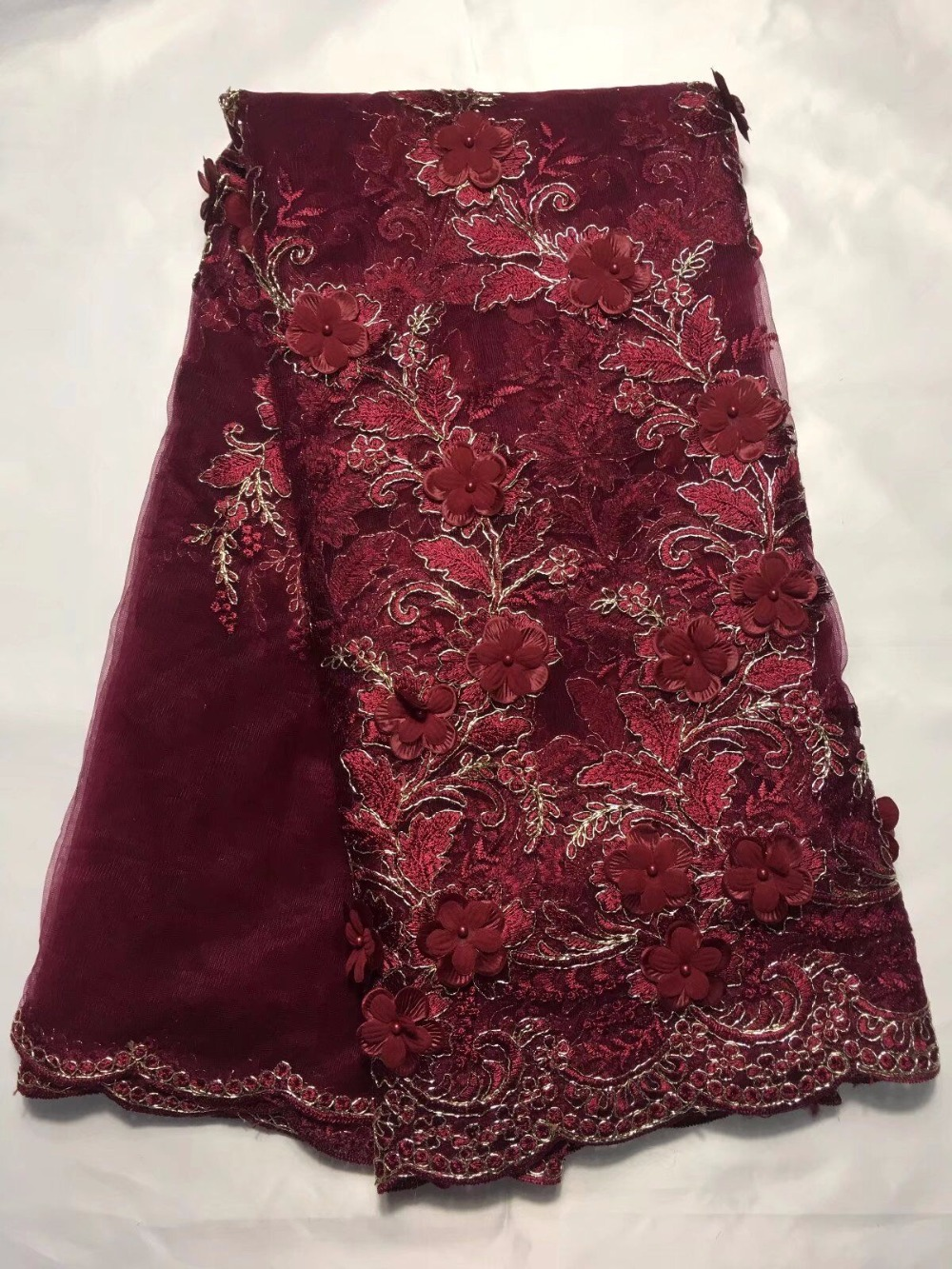 Laces Fabric Embroidered Nigerian Hojilou Panic Buying High Quality Lace Fabric Panic Buying African Lace With beads Wine red