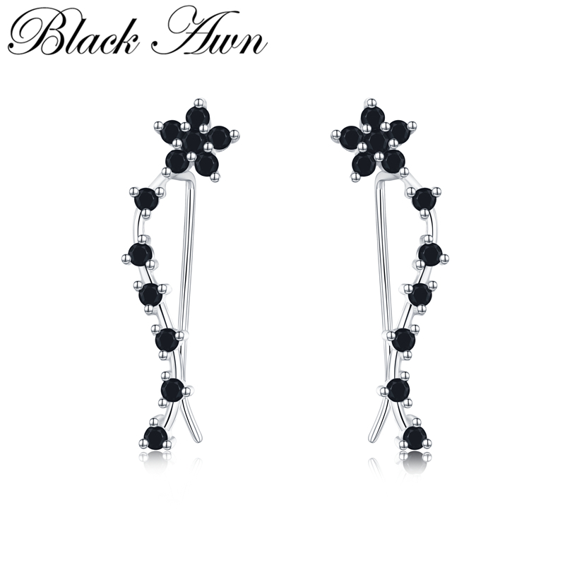 [BLACK AWN] Sterling Silver 925 Jewelry Engagement Drop Earrings For Women Flower Boucles D'oreilles I036