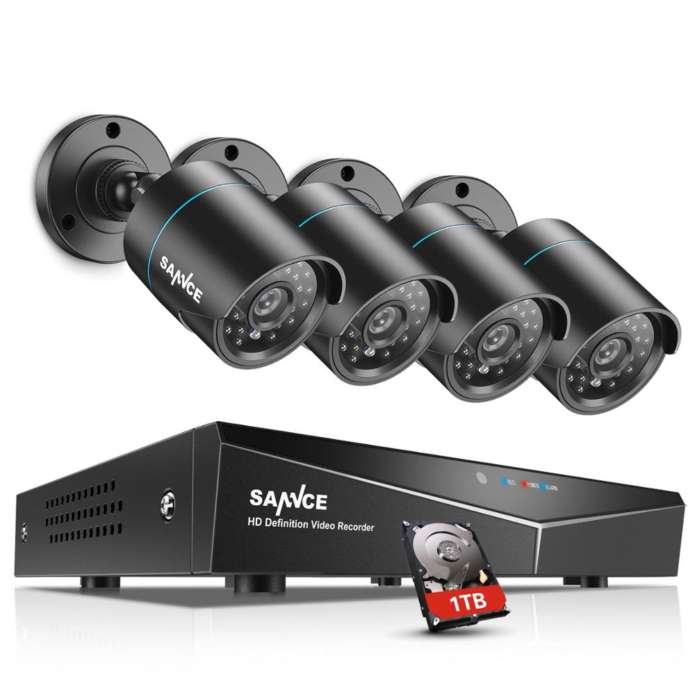 SANNCE 4CH DVR CCTV System 2/4 PCS 720P TVI IR Night Vision Indoor Outdoor Camera Home Security Video Surveillance Kit 1TB(China)