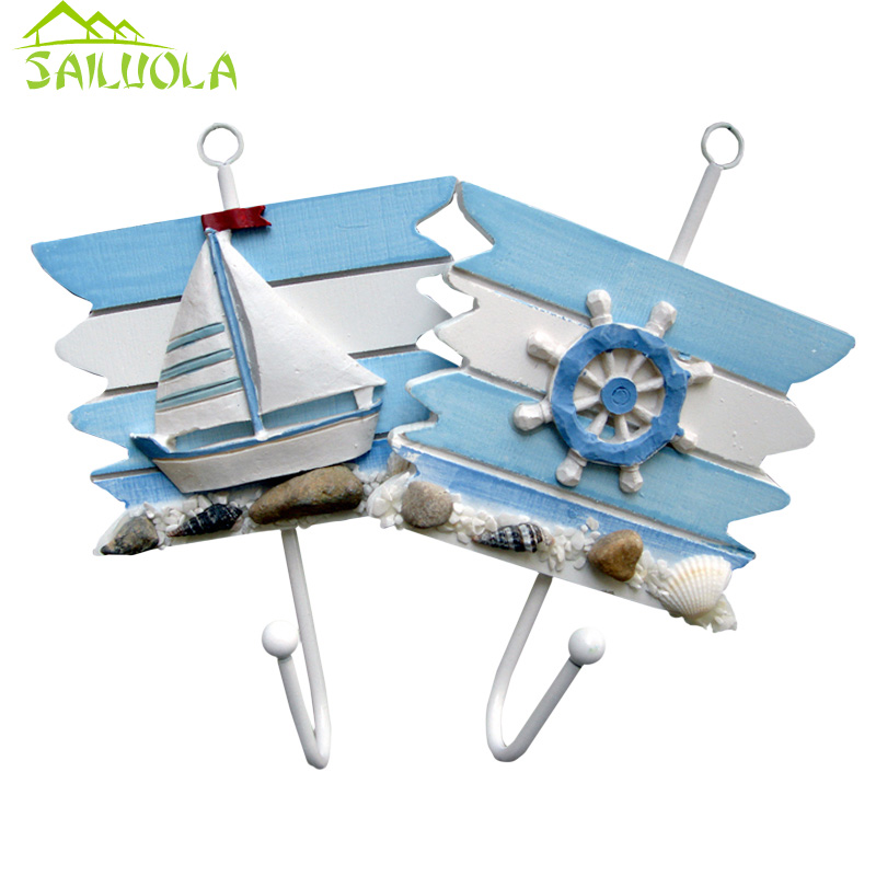 4pcs/set Bathroom accessories mediterranean styl coat hook wood thermometer hooks household rack wooden wall hanger