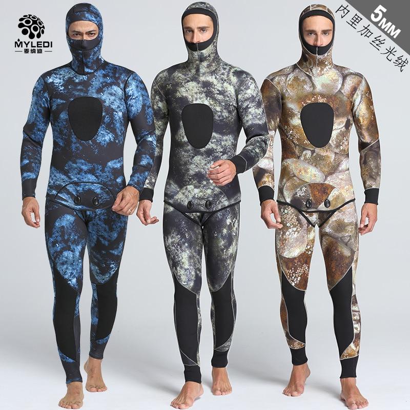 Diving Wetsuit 5mm Split Two-piece SCR Neoprene Camouflage Diving Suit Warm Anti Cold Surf Suit For Men Size S-XXL цена