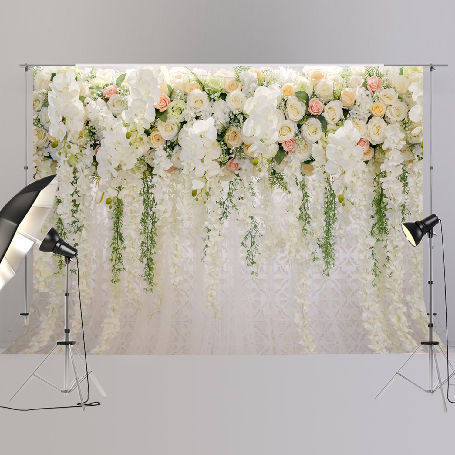 Bridal Shower Large Wedding Floral Backdrop White Rose 3D Flowers Dessert Table Decoration Wister Photography Background XT-6749