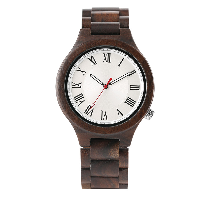 Nature Ebony/Bamboo Men Roman Numerals Dial Quartz Wooden Wrist Watch Business Style Watches Wood Band Simple Clock for Men Gift simple handmade wooden nature wood bamboo wrist watch men women silicone band rubber strap vertical stripes quartz casual gift page 2
