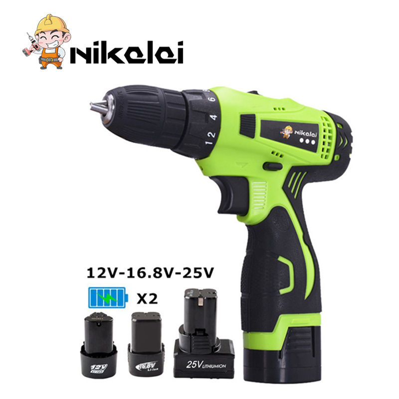 12v 16 8v 25V Rechargeable Lithium Battery Two Speed spare battery Waterproof Electric Drill cordless hand