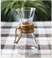 FeiC 1pc Chemex style 1-3Cups Classic Series Glass Coffee Maker for barista drip coffee