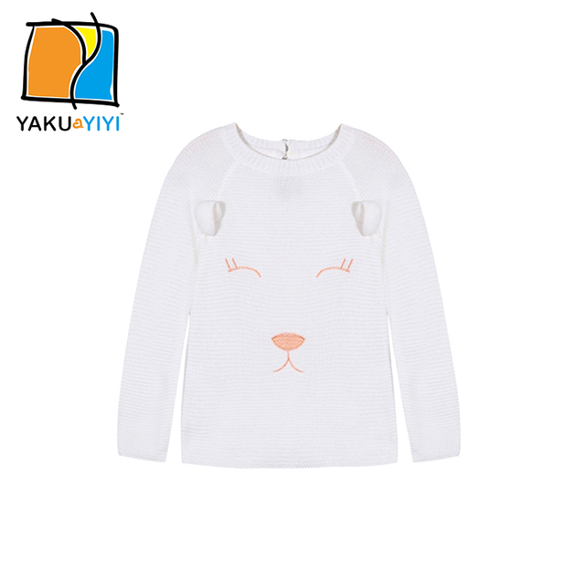 YKYY YAKUYIYI 2017 Brand New Girls Sweater Sweet Embroided White Baby Girl Pullover Tops Soft Button Back Children Sweater