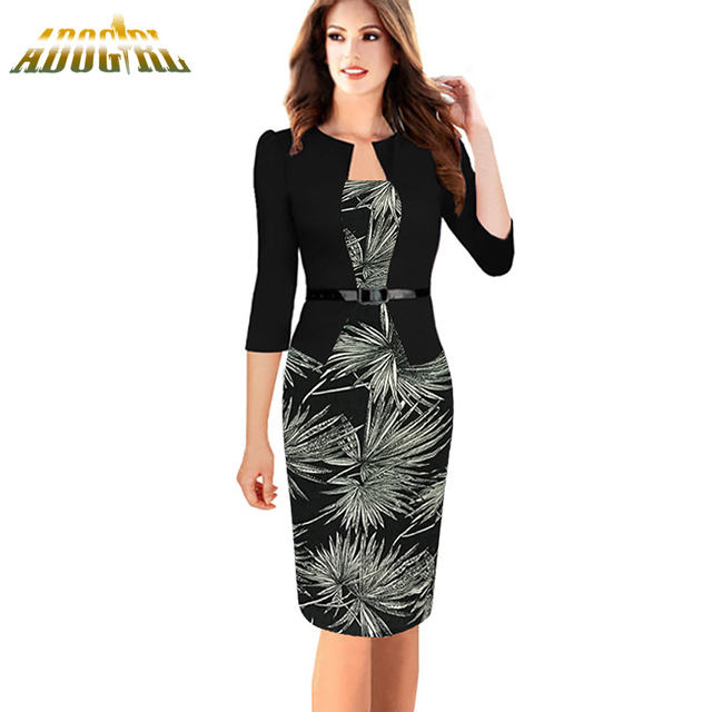ec971dbaa577 Women Elegant Formal Office Dress Fashion One-piece Faux Jacket With Belt  Sheath Bodycon Dresses
