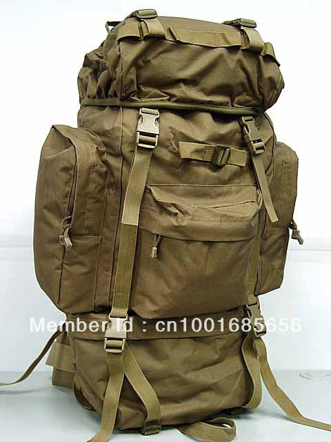 65L sac à dos de Combat Camping sac à dos Coyote marron MC OD BK Camo boisé