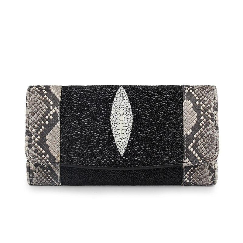 Luxury Designer Genuine Stingray Snakeskin Leather Lady Long Wallet Large Phone Holder Women Clutches Purse Female