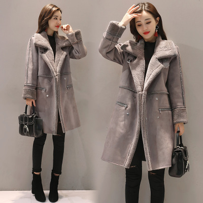 rose Épais Femmes Moyen Manteau Suede Hiver Veste Tissu Casual long Chaud Parkas Femelle Gris Outwear aSZF5xn6qx