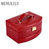 MENGXILU Women Makeup Organizer Large Capacity Multilayer Clapboard Professional Cosmetic Bag Suitcase Tool Box PU Leather