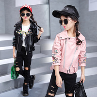 Kids Jacket For Girls New Spring Fashion Flowers Pu Leather Turn down Collar Coat Children Cool Zipper Clothing Outwears