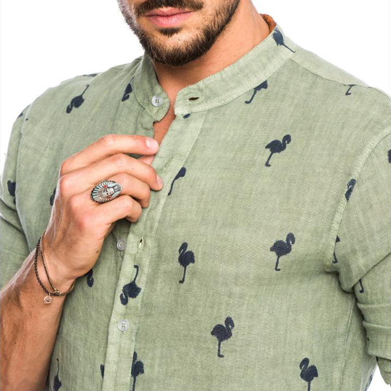 Image 5 - Newest Mens Fashion Casual Printed Flamingo Shirts Cotton Slim Fit Button Placket Korean Collar Long Sleeve Male Social Business-in Casual Shirts from Men's Clothing