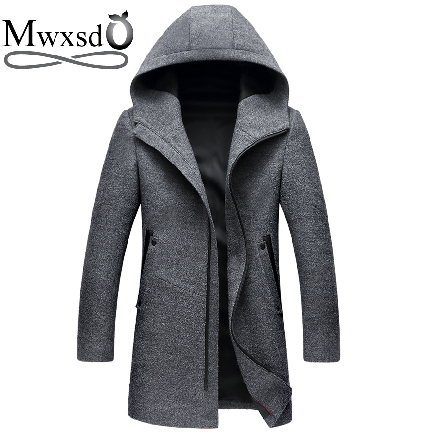 Mwxsd brand mens winter casual hooded hat Wool coat Middle long woolen overcoat thick warm jacket for male Overcoat