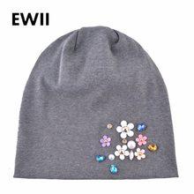 Cap gorro de algodão marca mulheres outono flor caps skullies gorros bonnet  chapéu meninas mulheres rhinestone malha chapéus . e7052f175bd