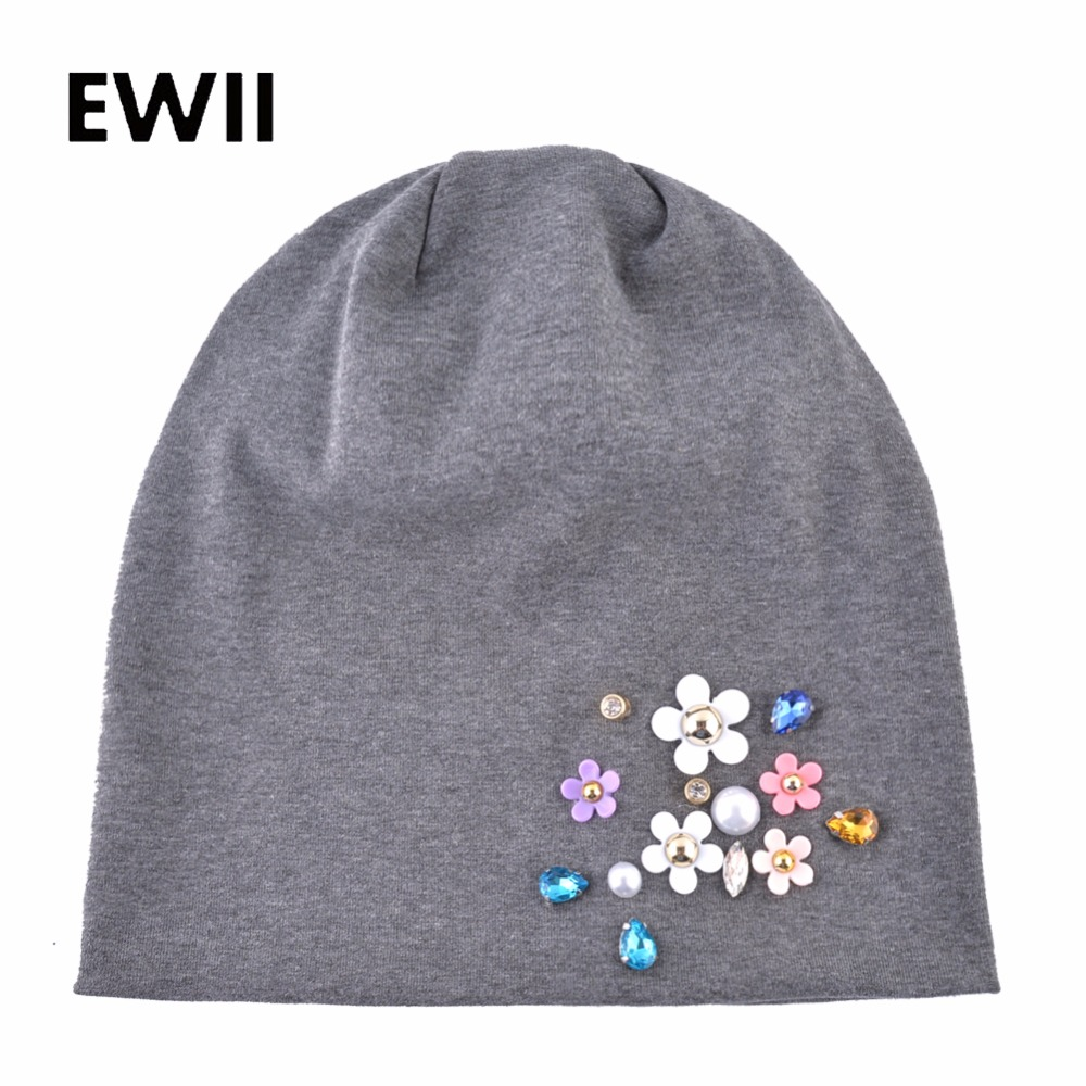 Brand cotton   beanie   cap women autumn flower caps bonnet   skullies     beanies   girls hat women rhinestone knitted hats touca inverno