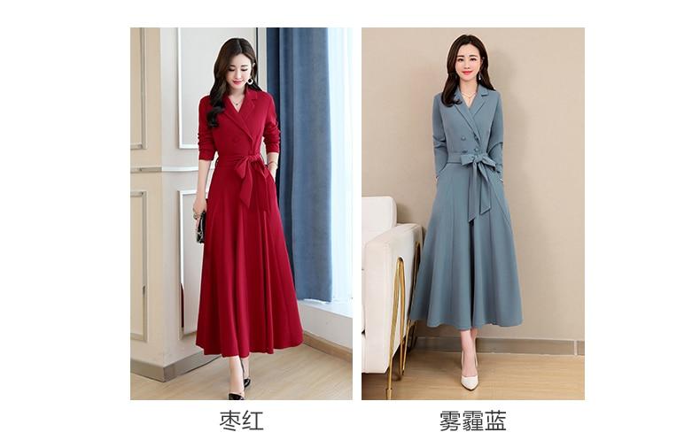 Spring and Autumn 2019 New Women's Dresses Korean Edition Long Sleeve Dresses Overlap Long Popular Temperament with Bottom 118