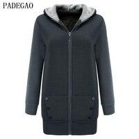 PADEGAO Dark Gray Fleece Jacket Coat Hooded Cardigan Women Plus Size Casual Coats Autumn Winter Cotton