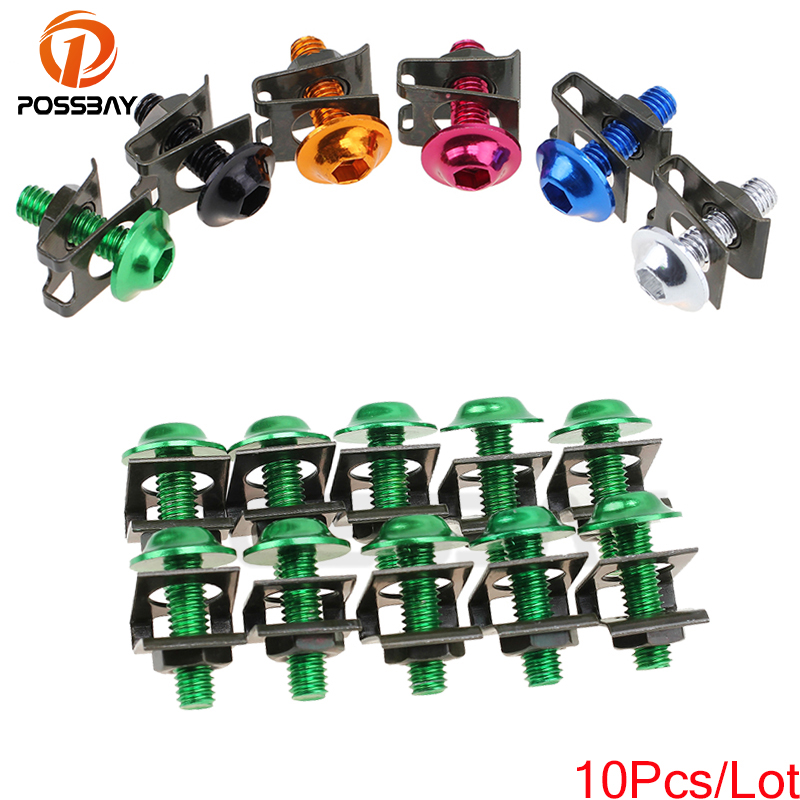 1X Motor Cycle  Bike M6 Bolts Spire Speed Fastener Clip Screw Nut Gold Used