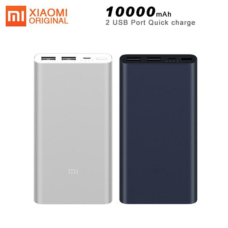 Original Xiao mi mi 2 Banco Do Poder 10000mAh Dual USB Porta Carregador de Carga Rápida Powerbank Portátil Ultra-fino bateria externa