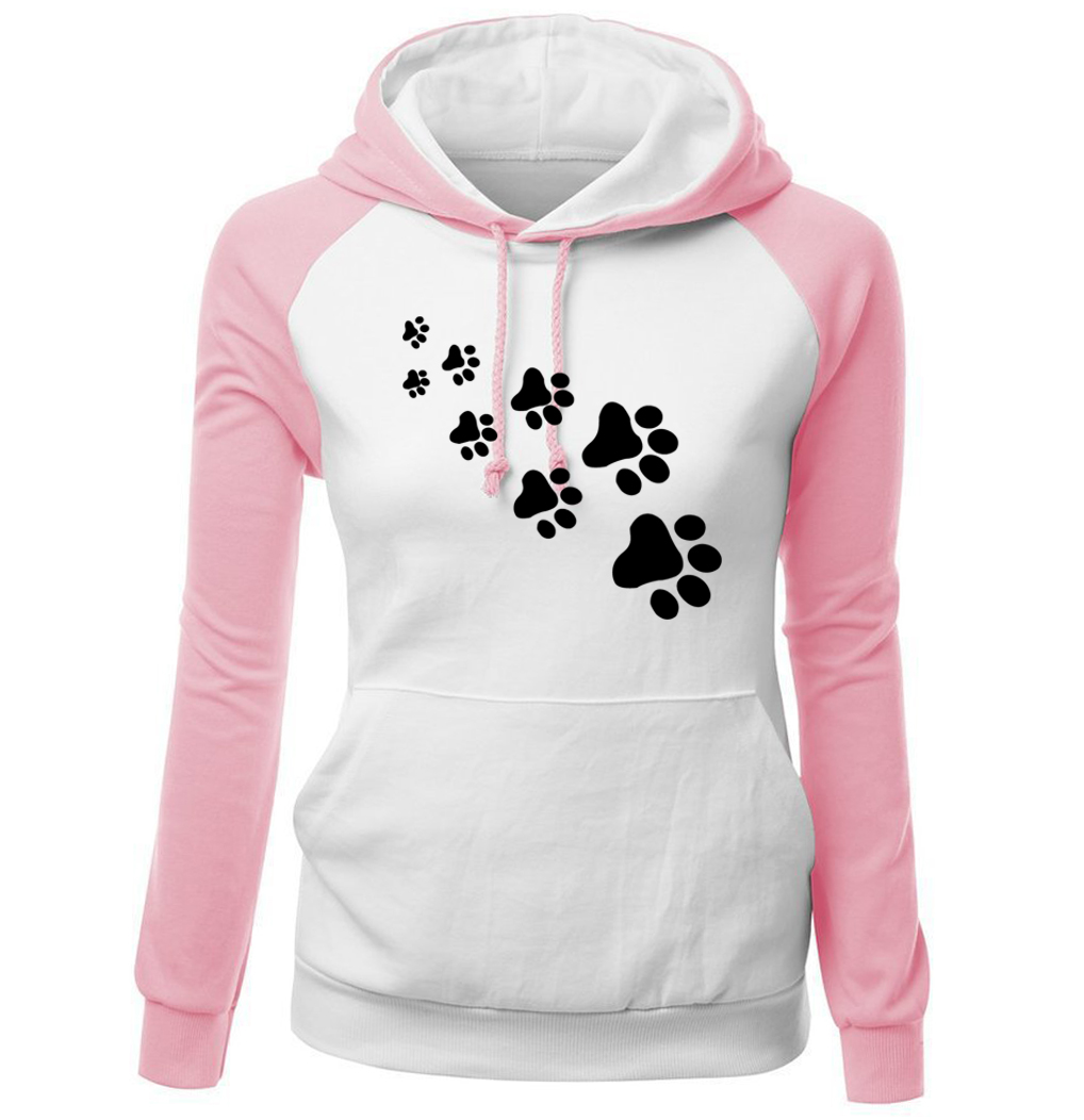 2018 herbst Winter Fleece frauen Sportswear Harajuku Druck KATZE PFOTEN Cartoon Kawaii k-pop Kleidung Streetwear Hoodies Sweatshirt