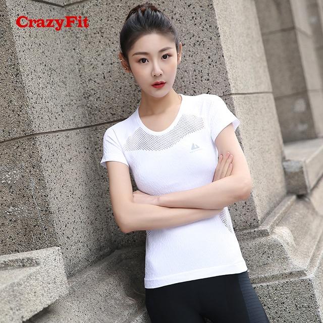 CrazyFit 2018 Sport T-shirt Shirt Women Yoga Fitness Top Apparel Sports  Clothing Wear Gym Running Workout Ladies White Yoga Tops a587b5a146