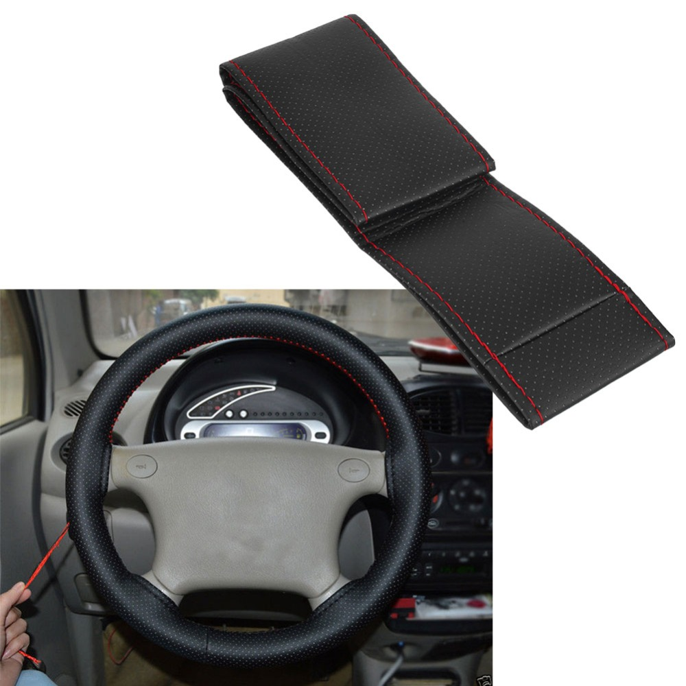 Vehemo 38cm Universal Steering Wheel Covers/ Soft Fiber Leather braid on the steering-wheel of Car With Needle and Thread