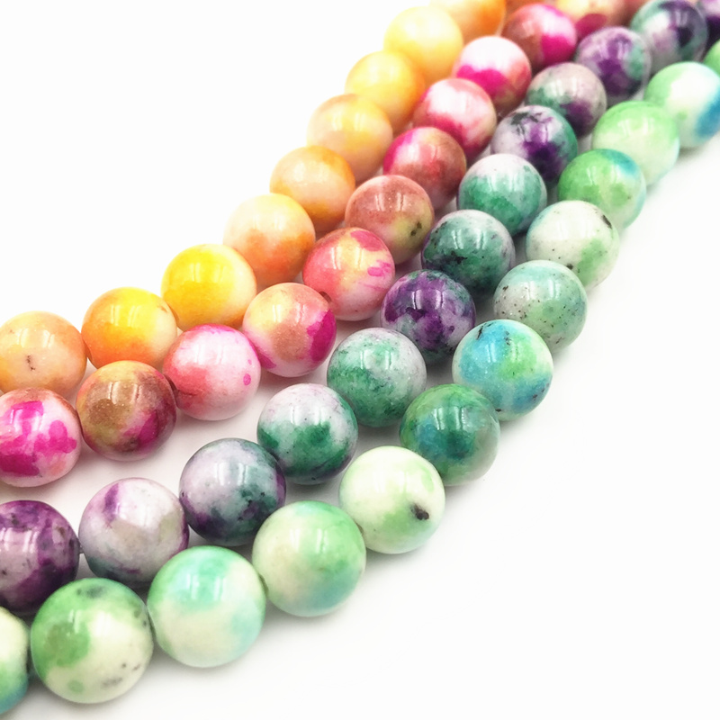 4 6 8 10 12mm Multicolor Jades Round Loose Stone Beads for Jewelry Making DIY Bracelet Necklace Chalcedony Jaspers 16inch A160