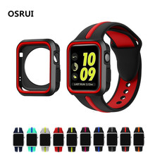 Silicone sport  For Apple watch band strap correa case 42mm 38mm iwatch series 3 2 1 wrist bands bracelet belt Protective cover new rugged protective case with strap bands for apple watch series 1 38mm 42mm watchband strap bracelet replacement accessory