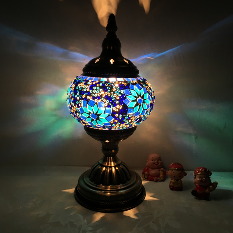 Moroccan Table Lamp Retro Ethnic Style Bedroom Living Room Study Exotic Turkish Flower Table Lamp M1960