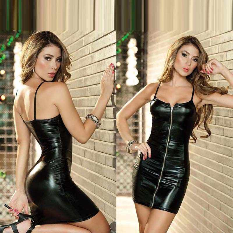 Damen Partei Mantel Sexy Club Kleid Ärmel Spaghetti Strap Low cut-Kleid Frauen Front Zipper Mini decotado Vestidos 4XL
