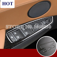 Carbon Fiber Door Armrest Window Switch Cover For BMW X3 X4 F25 F26 2014 2017 4pcs