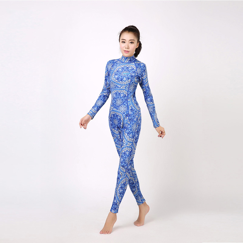 2017 Slim Warm Long Sleeve 3mm Neoprene Surf Diving Suit Women Sun UV Protection Printed Wetsuit High Neck One Piece Wet Suits high quality cortex 3 5mm surf diving wet suits jacket men women surfing diving spearfishing wet suit long sleeve jacket wetsuit