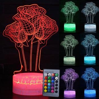 Color Change LED Table Desk Lamp Home decoration 3D LED Night Light Rose Flower Night light Kids Xmas Gift D30 table decor color change best gift led night light