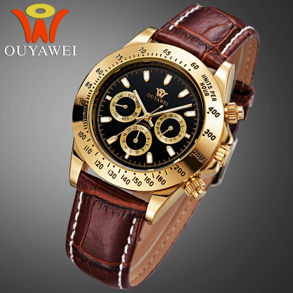 Ouyawei top brand luxury watch men 10 water resistant wristwatches automatic self wind movement for Watches brands for men
