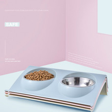Pet Supplies Cat Double Bowl Dog Puppy Food Water Feeder Cute Stainless Steel Pets