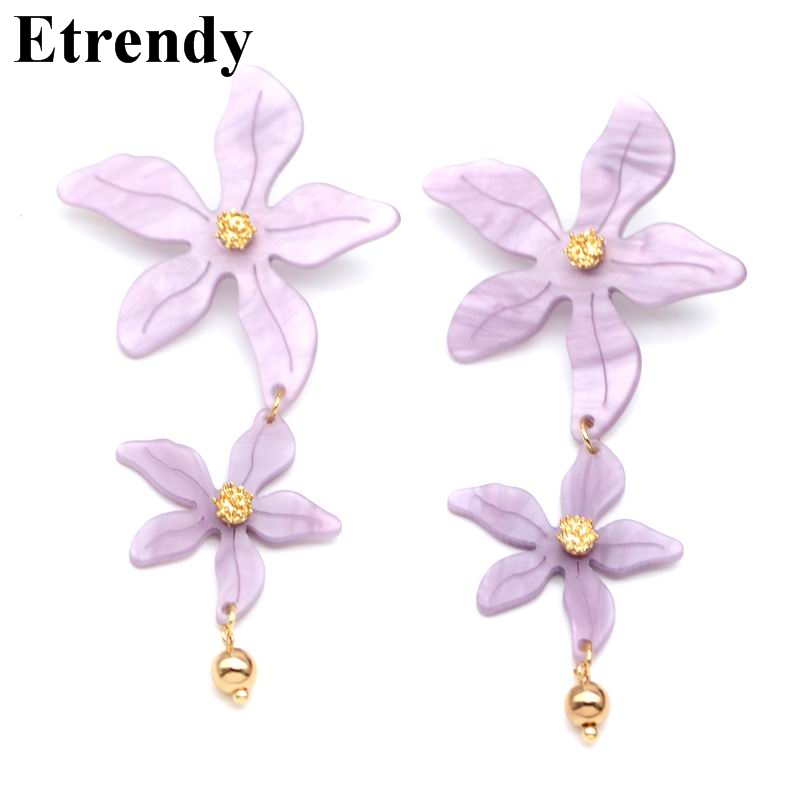 Statement Double Flower Drop Earrings For Women Large Fashion Jewelry 2019 Bijoux Party Holiday Accessories Purple Color ELegant