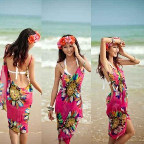 الصيف النساء عباد الشمس الشمس واقية الرأس الشيفون بيكيني للشاطئ التستر الأغطية وشاح ملابس صوفية ردائه اللباس