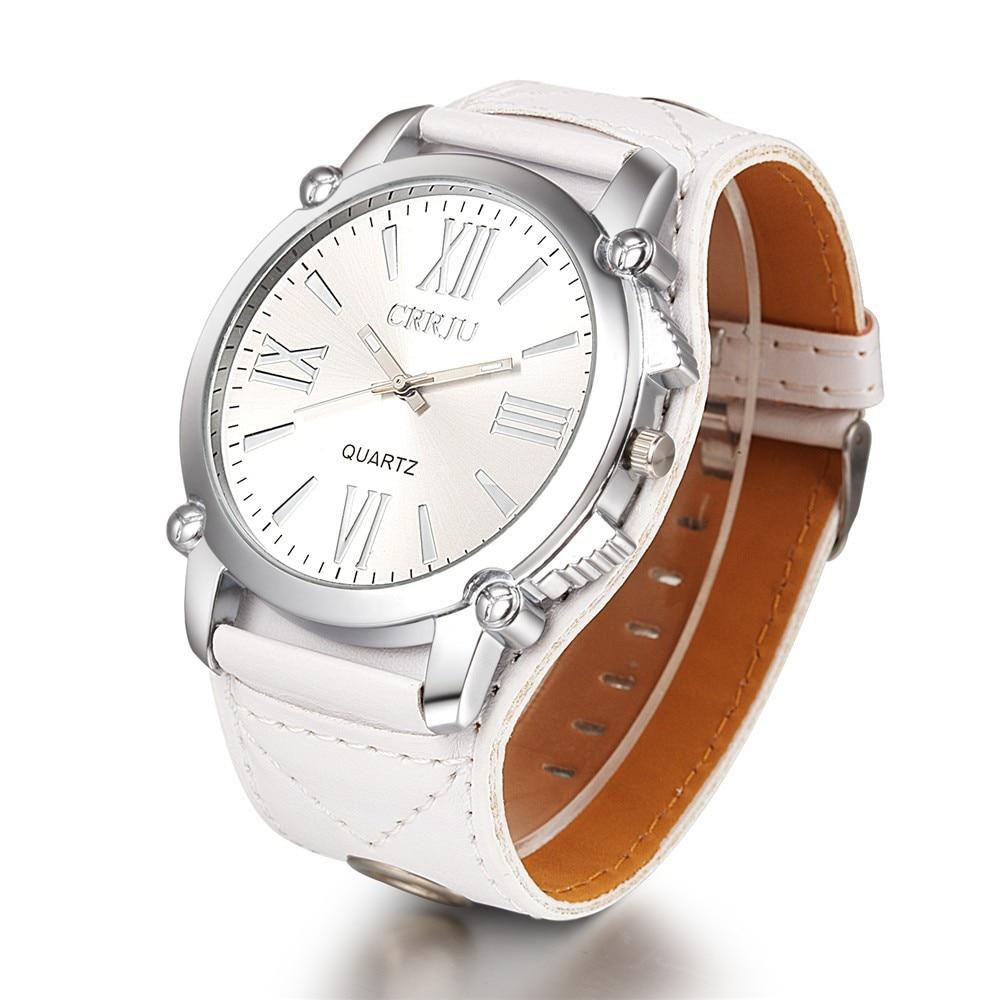 Crrju nueva marca de alta calidad pu cuero reloj mujeres señoras moda vestido de cuarzo reloj números romanos relojes Navidad regalo
