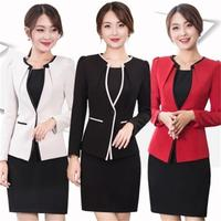 High quality Women Autumn And Winter Blazer Dress Suits Elegant Short Sleeve Blazer and Short Sleeve Dress Career Office Suit