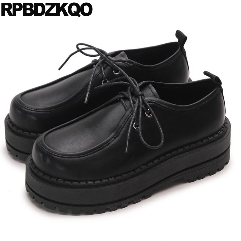 Elevator Thick Sole Creepers Platform Shoes Oxfords Muffin Harajuku Women Flats Footwear Black Lace Up Beautiful European Latest women harajuku cartoon lace up wedges platform shoes 2015 casual shoes trifle thick soled graffiti flat shoes ladies creepers