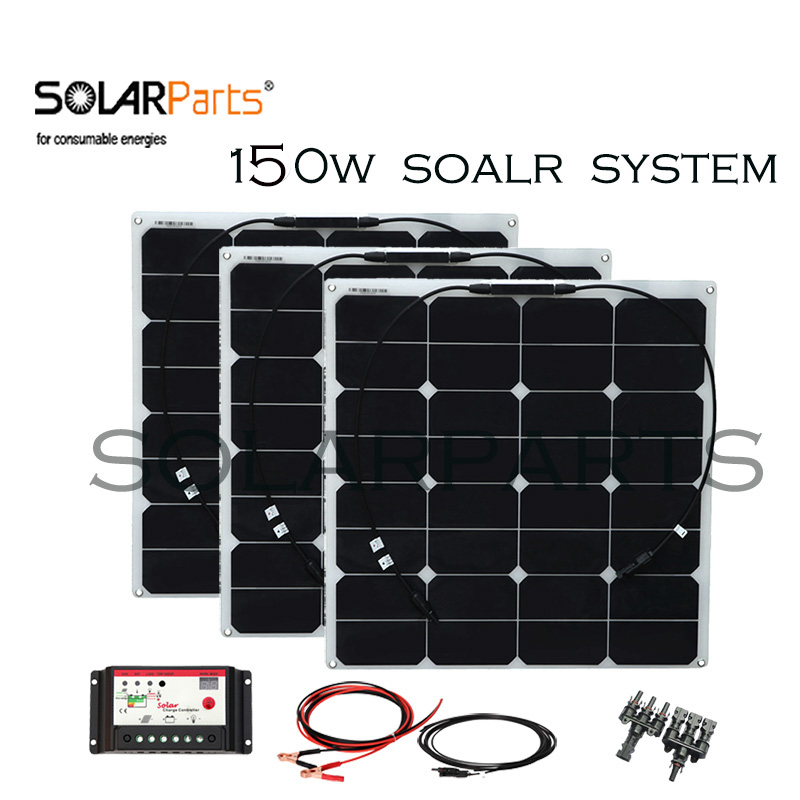 solarparts 150w flexible soalr panel solar system cell controller  cable for yacht/RV/home 12v battery charger Solar charge solarparts 100w diy rv marine kits solar system1x100w flexible solar panel 12v 1 x10a 12v 24v solar controller set cables cheap