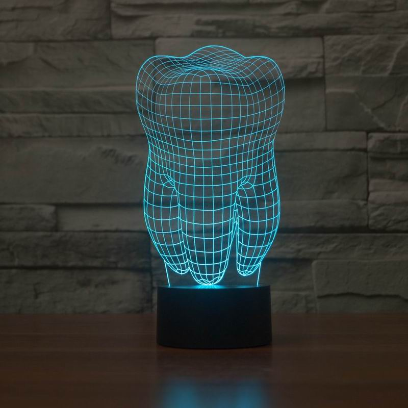 New 3D illusion creative decorative night lamp tooth shape diy - Night Lights - Photo 5
